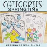 Categories No Prep Worksheets - Spring themed