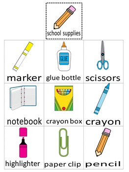 Categories: School Supplies or Cleaning Supplies (set 2)