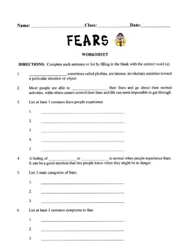 Categories & Symptoms Of Human Fears Lesson