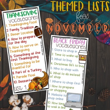 Categories Word Game - November - Thanksgiving - Gratitude - Rainforest