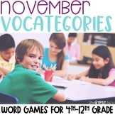 Categories Word Game - November - Thanksgiving - Gratitude