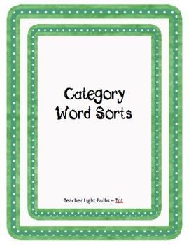 Categories Word Sort