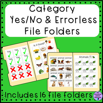 Categories Yes or No Question with Photos File Folders for Special Education