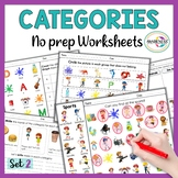 Categories Speech Therapy Worksheets | No Prep Activities