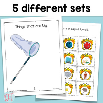 Spring Activities for Speech Therapy Categories with Attributes