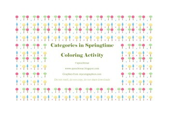 Categories in Spring Coloring Activity