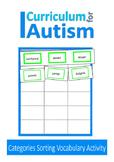 Categories Vocabulary Sort Autism Special Education Speech ESL
