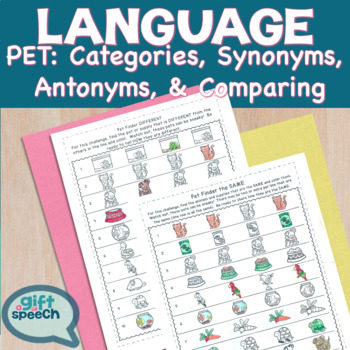Categories, synonyms, antonyms, & comparison NO Prep Pet Shop Language