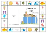 Categorization - Summer Fun Game Board and Cards