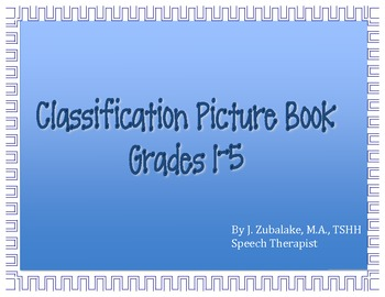 SPEECH THERAPY Categorization/Classification Picture Book