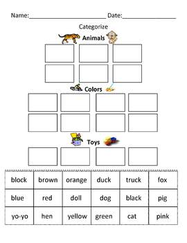 Categorize / Classify Cut and Paste Worksheet
