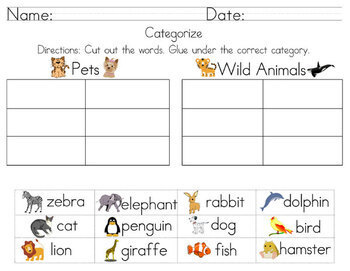 Categorize & Classify Worksheets - Including cut and paste by ...