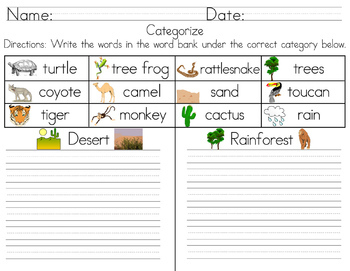 Categorize & Classify Worksheets - Volume 2 (Cut and Paste & Writing)