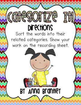Categorize It! Literacy Center FREEBIE