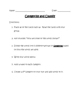 Categorize and Classify_ Sorting Activity