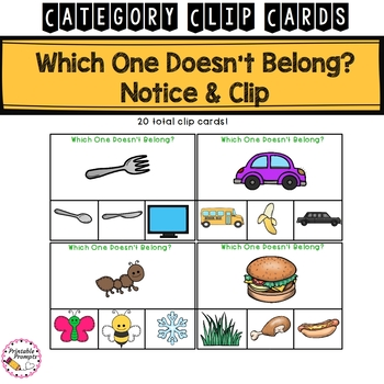 Categorizing Clip Cards Center Activity