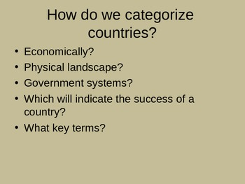Categorizing Countries - PPT: Analyzing Nations