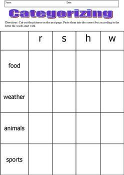 Categorizing & Initial Consonants Cut & Paste; Boardmaker