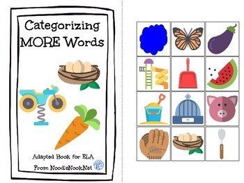 Categorizing MORE Words- An ELA Concept Adapted Book for Autism Units-Early Ele