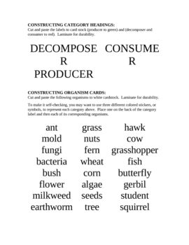 Categorizing Producers, Decomposers, & Consumers Activity