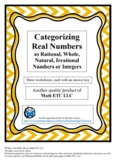 Categorizing Real Numbers Worksheets