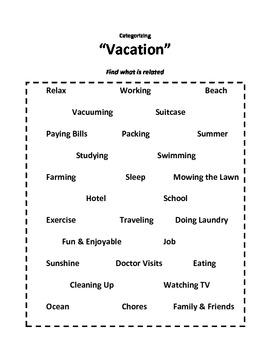 Categorizing Worksheets