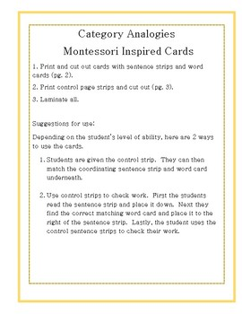 Category Analogy Cards- Montessori Inspired