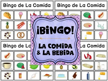 Category Bingo: Food and Drink Flashcards & Games {Spanish Version} -- $2 DEAL