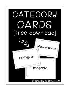 Category Cards Freebie
