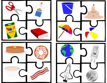 Category/Describing Puzzle with Sentence Strips for Speech Therapy