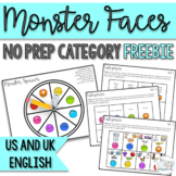 Category Freebie- Monster Faces No Prep Speech Therapy