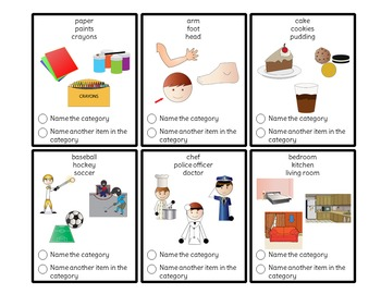 Category Picture and Task Cards