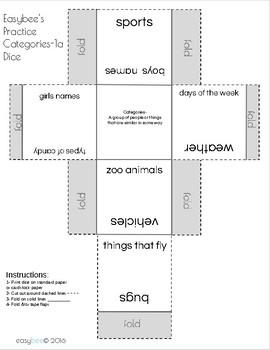Category Print & Fold Dice - 1st Grade