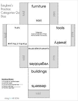 Category Print & Fold Dice - 2nd Grade