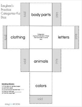 Category Print & Fold Dice - Kindergarten
