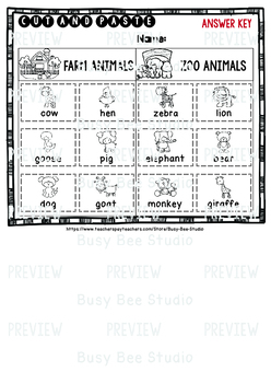 Category Sort | Cut and Paste Worksheets | Farm Animals & Zoo Animals