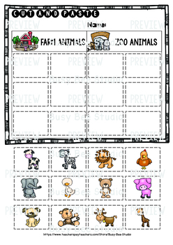 Category Sort Cut And Paste Worksheets Farm Animals Zoo Animals