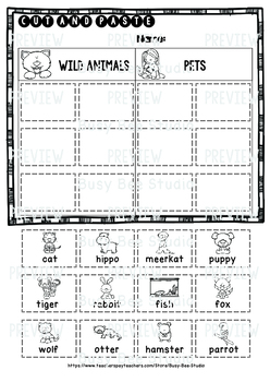 category sort cut and paste worksheets pets and wild animals. Black Bedroom Furniture Sets. Home Design Ideas