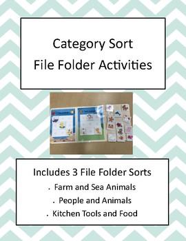 Category Sort File Folder Activities- Set of 3