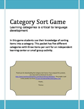 Category Sort Game