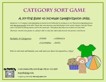 Category Sort Game for Vocabulary and Categorization Skills
