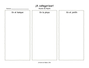 Category Sort SET of Activity Pages / Worksheets Spanish Printable