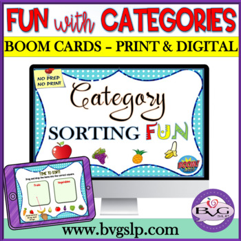 BOOM CARDS Categories Sorting Interactive - Teletherapy NO PRINT