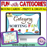 BOOM CARDS Categories Sorting Teletherapy Interactive NO PRINT