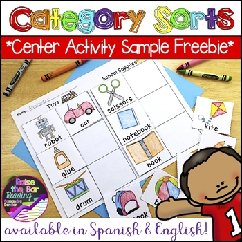 Category Sorts / Concept Sorts & Phonics Center Printables *Sample Freebie*