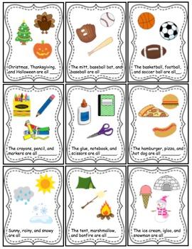Category Task Cards for Preschool and Kindergarten