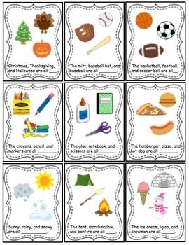 Category Task Cards for Preschool and Kindergarten