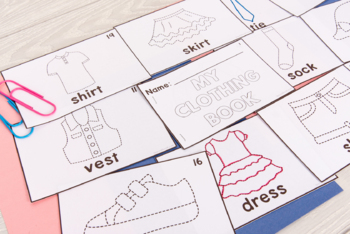 Category Vocabulary Tracing Mini-Book: Clothing