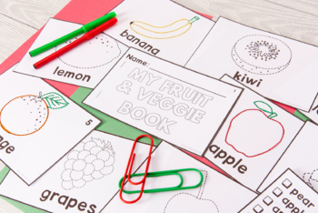 Category Vocabulary Tracing Mini-Book: Fruit and Veggies