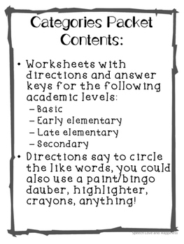 Category Worksheets